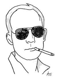 Illustration porträtt av Hunter S Thompson